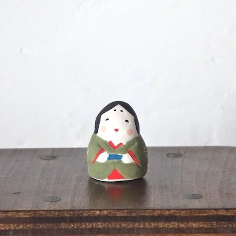 ミニお多福さん 緑  Mini Otafuku green