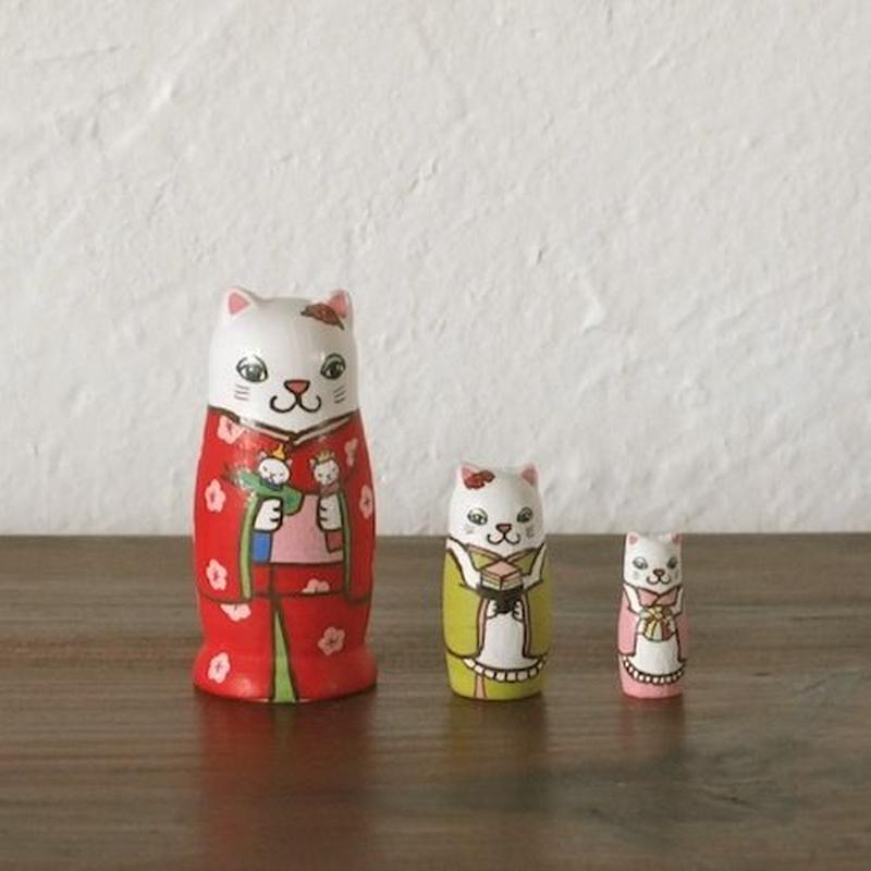 マトリョーシカ3個組(雛祭り猫)