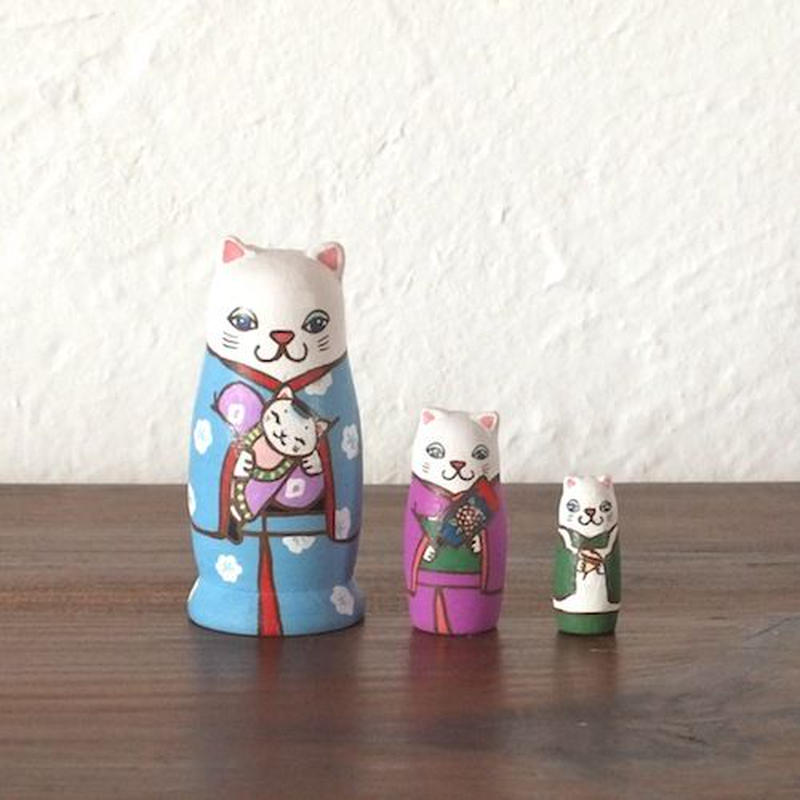 マトリョーシカ3個組(正月猫)