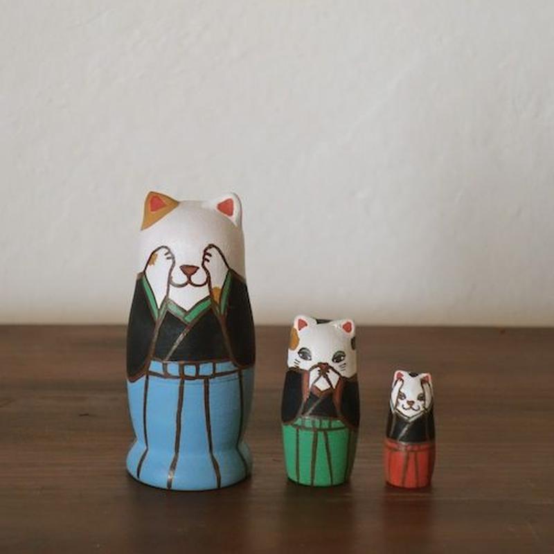 MATRYOSHKA 3sets みざるきかざるいわざる猫 Three wise cat