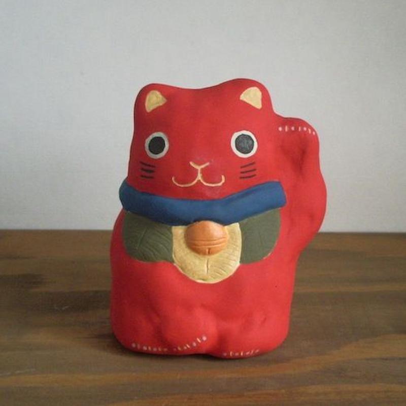 招き猫 赤 Beckoning cat red