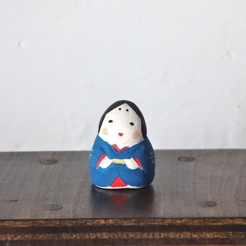 ミニお多福さん 青  Mini Otafuku blue