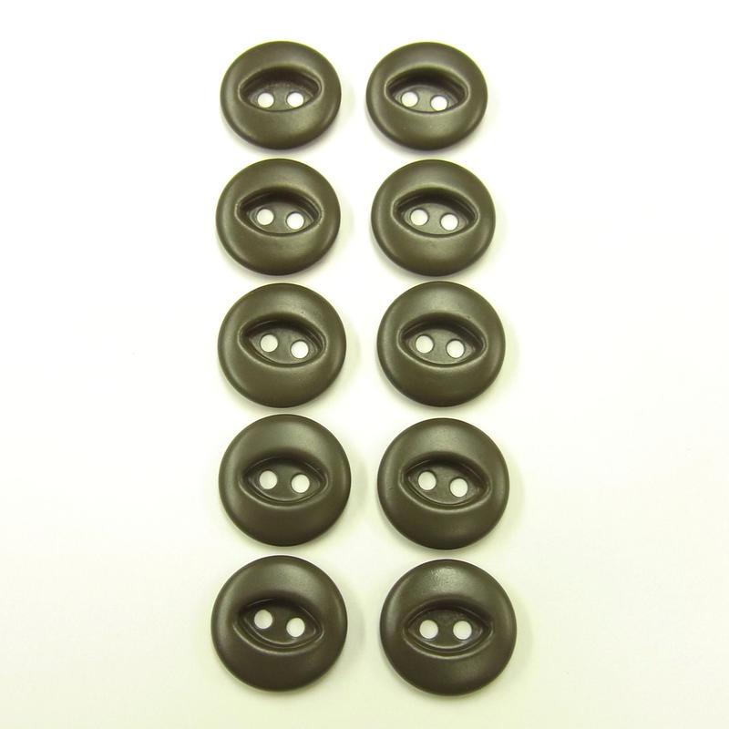 ビンテージソーオンボタン50(10個セット)マットカーキ