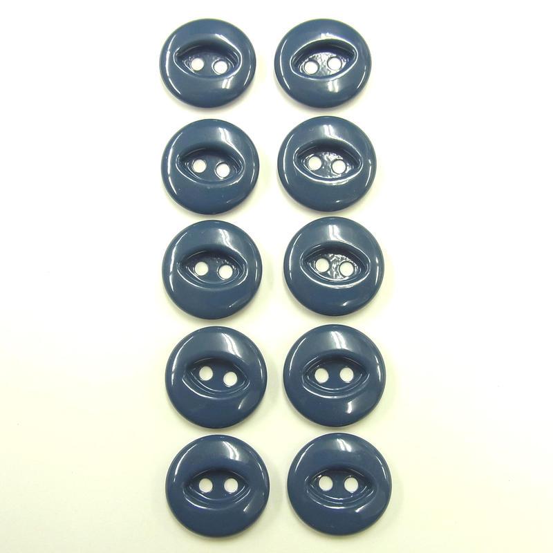 ビンテージソーオンボタン50(10個セット)つやブルー