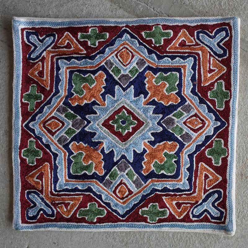カシミール刺繍クッションカバー/small/BLUE FROWER