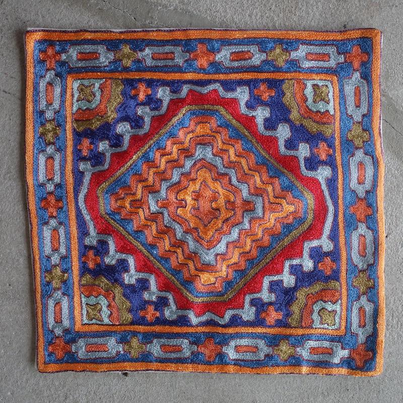 カシミール刺繍クッションカバー/Large/Orange window