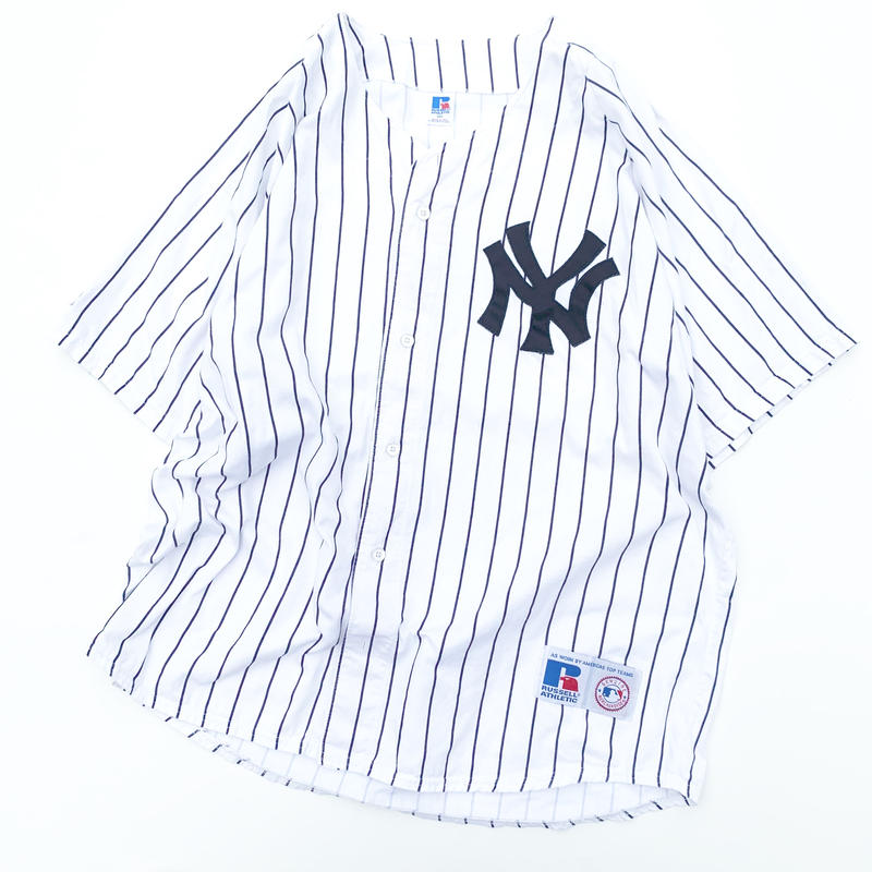 90's russell new york yankees base ball shirt made in usa