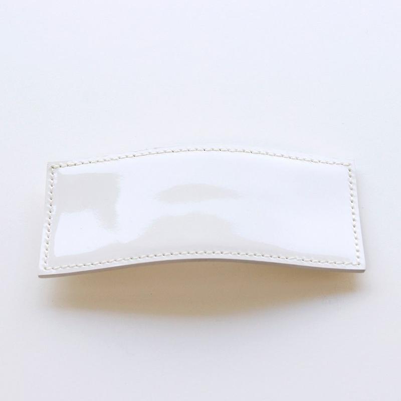 patent leather barrette big / white
