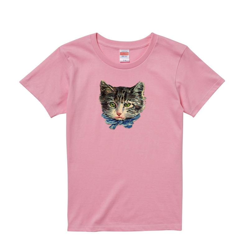 【Ribbon Cat/リボンキャット】5.6オンス Tシャツ/PK/LT-005