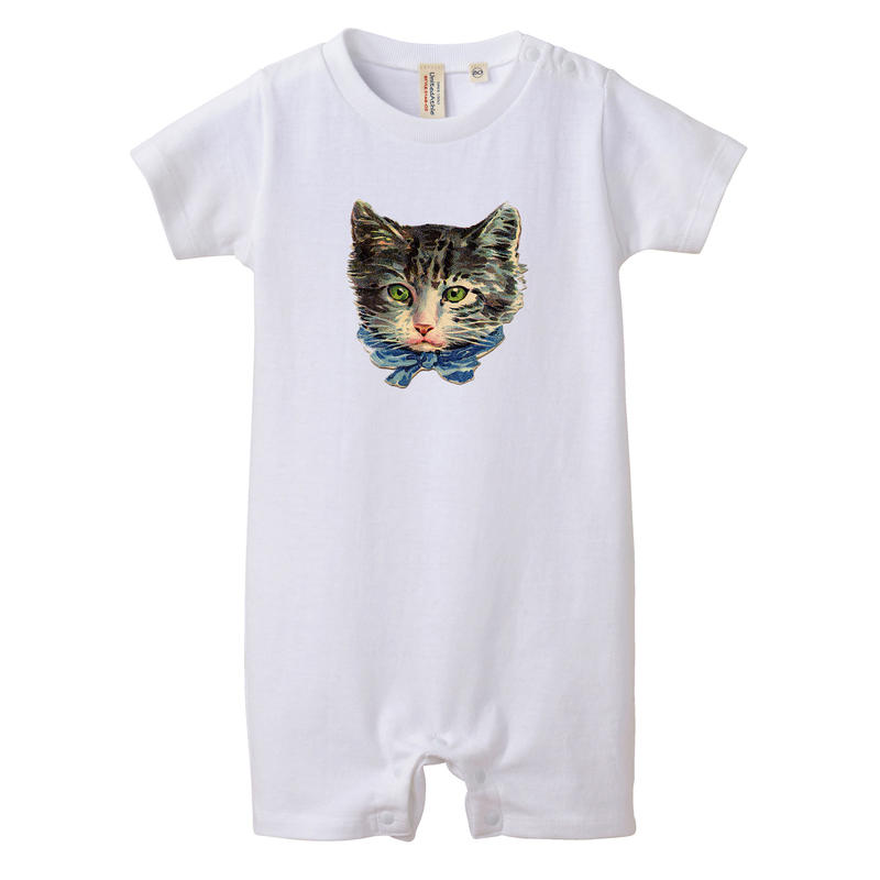 【Ribbon Cat/リボンキャット】5.6オンス ロンパース/WH/BB-005