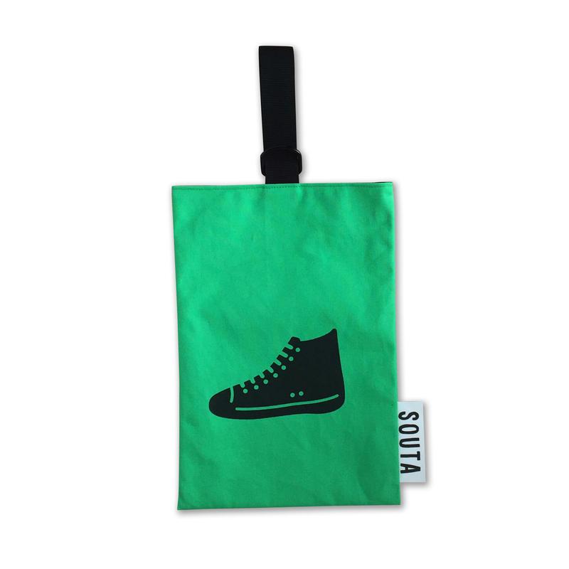 【名入れ無料】ネオンカラーのポップなシューズバッグ・グリーン Sサイズ
