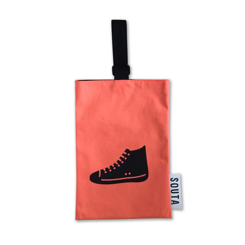 【名入れ無料】ネオンカラーのポップなシューズバッグ・オレンジ Sサイズ