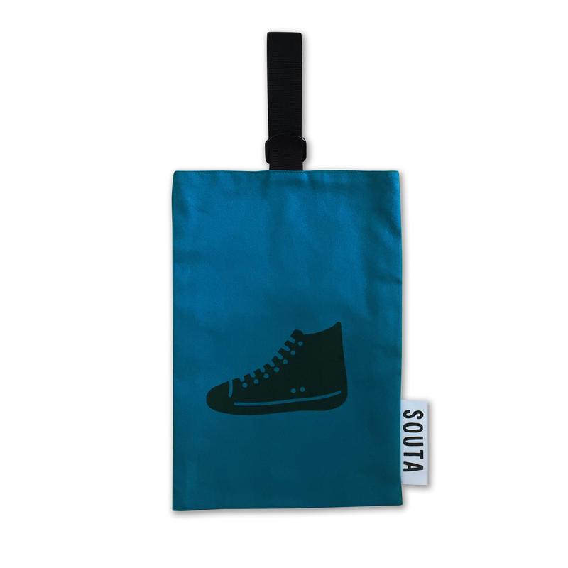 【名入れ無料】ネオンカラーのポップなシューズバッグ・ブルー Sサイズ