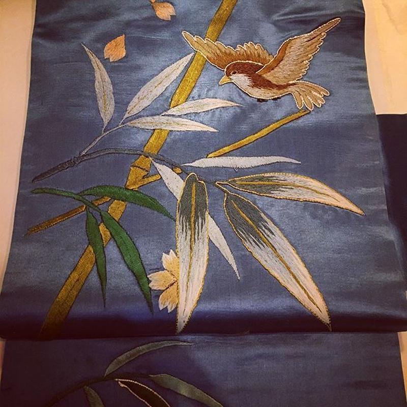 鳥と竹のアンティーク刺繍名古屋帯