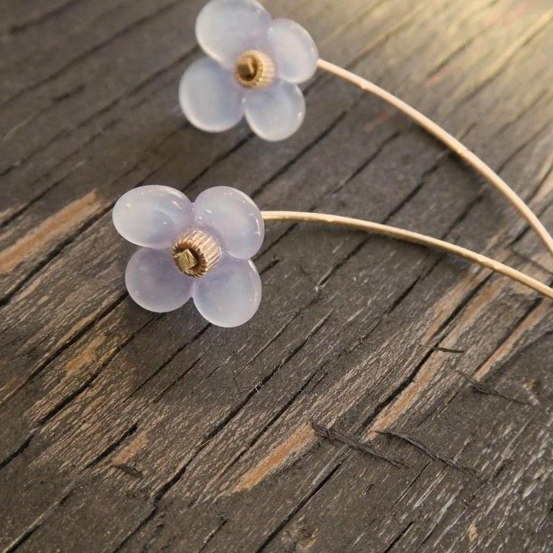 春いろ小花 のピアス 【パープル】