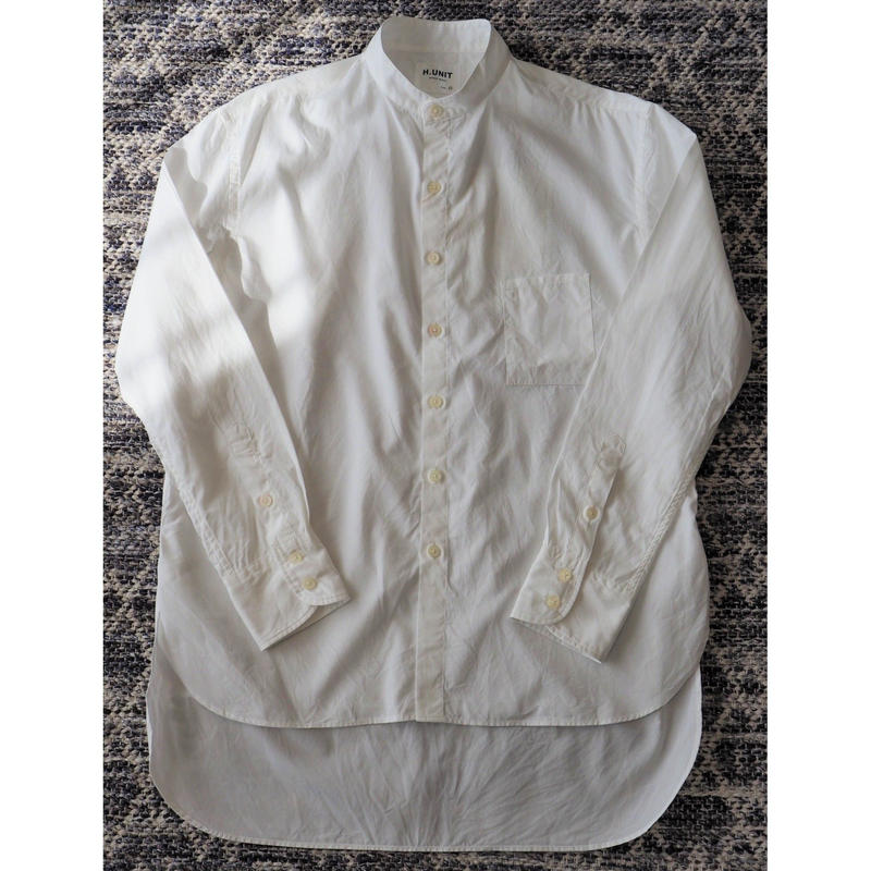 H.UNIT / Broadcloth bandcollar long sleeves shirt