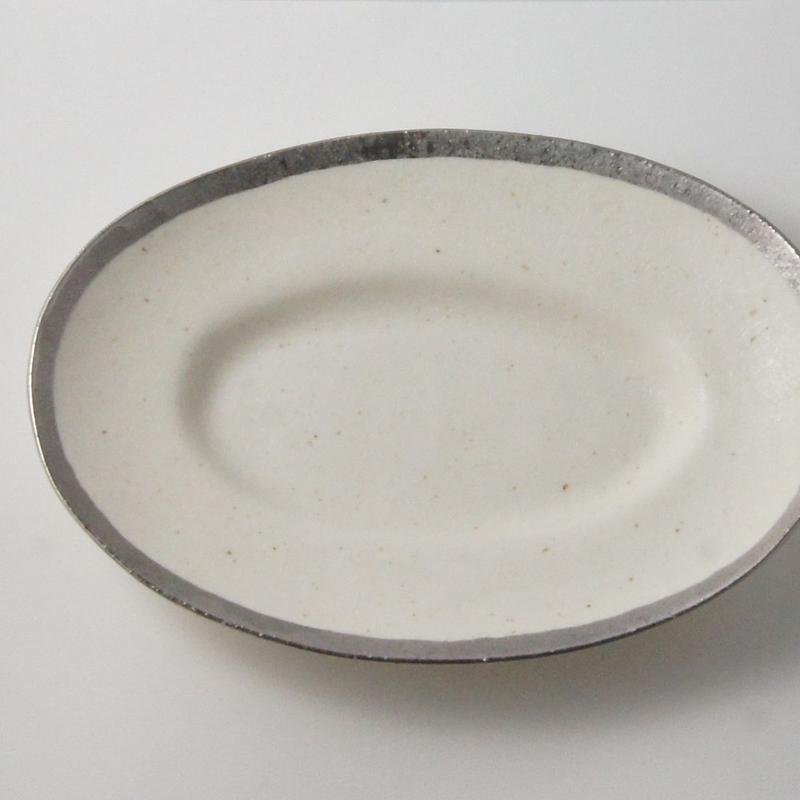 MY DISH Oval Plate Platinum 23cm