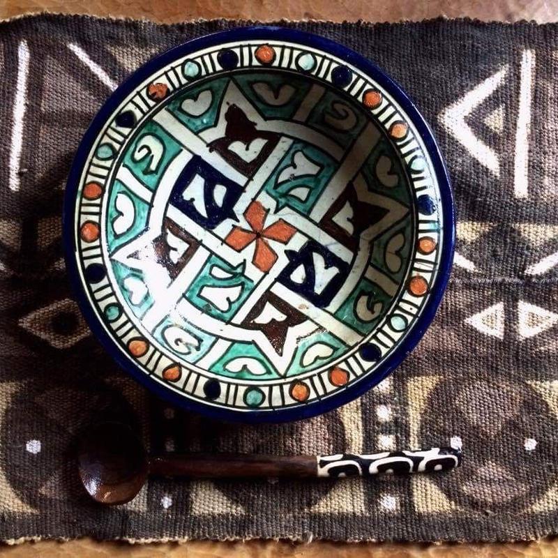 10/14 bogoさんに教わって西アフリカ伝統泥染めのランチョンマットを描染めてみよう