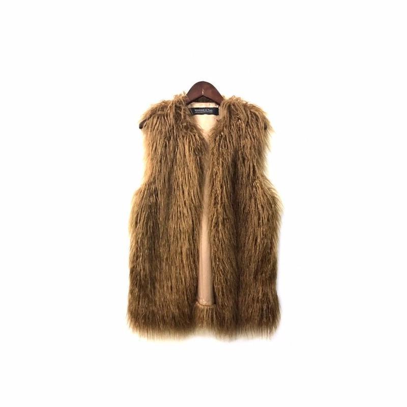 USED - Fake Fur Sleeveless Jacket ¥8500+tax