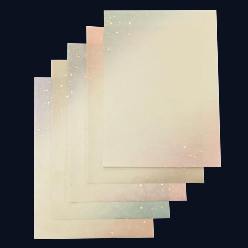 半懐紙 本楮紙 両スミぼかし金切箔砂子