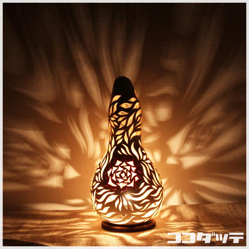 ひょうたんランプ032【薔薇/ホワイト】