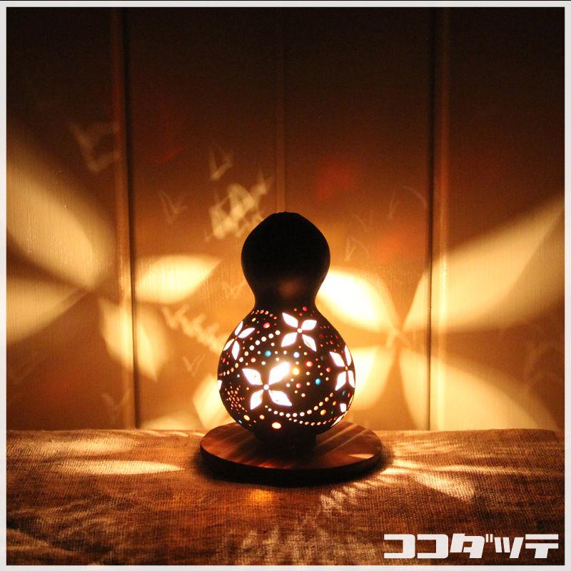 ひょうたんランプ035【花/ブラック】