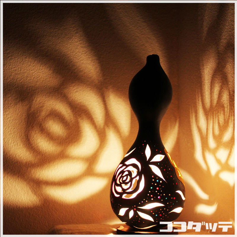 ひょうたんランプ065【薔薇/ブラック】