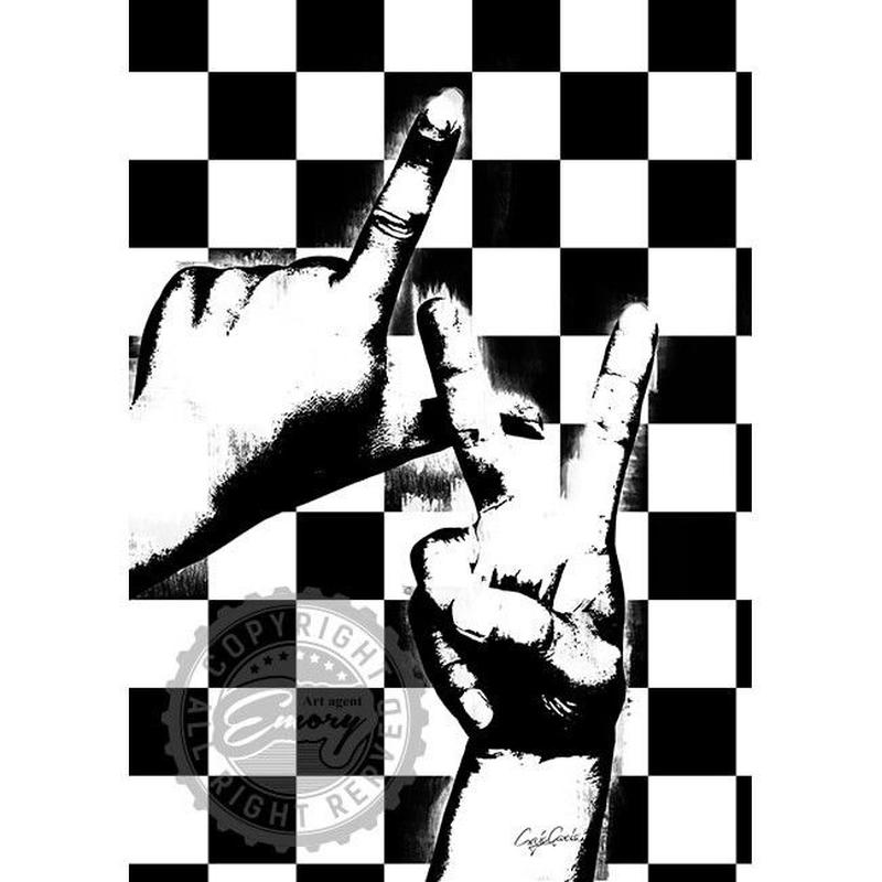 キャンバス 410×273×D20mm 【 sign language 】