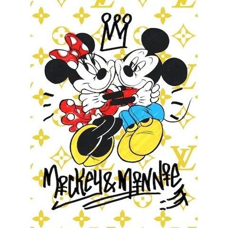 キャンバス410×273×D20mm 【 Mickey&Minnie Lovers #td41 】