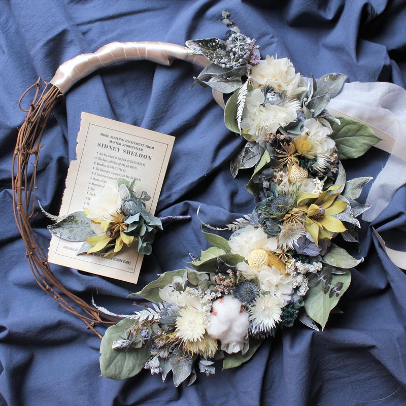 wreath bouquet boutonniere set