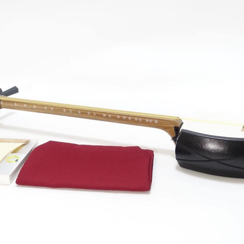 "[29188] [Tsugaru Shamisen] ""Ripple"" used, Beginner shamisen set. One piece of neck (Case Included)"