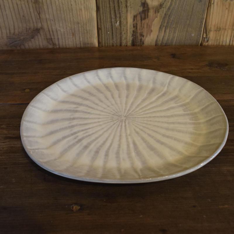 楕円平皿 刷毛目 石見焼 / 宮内窯 C108
