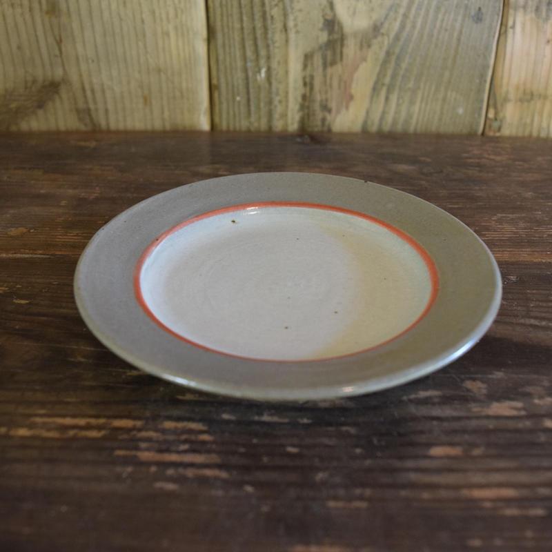 5寸皿 中赤線 / 福光焼 D101