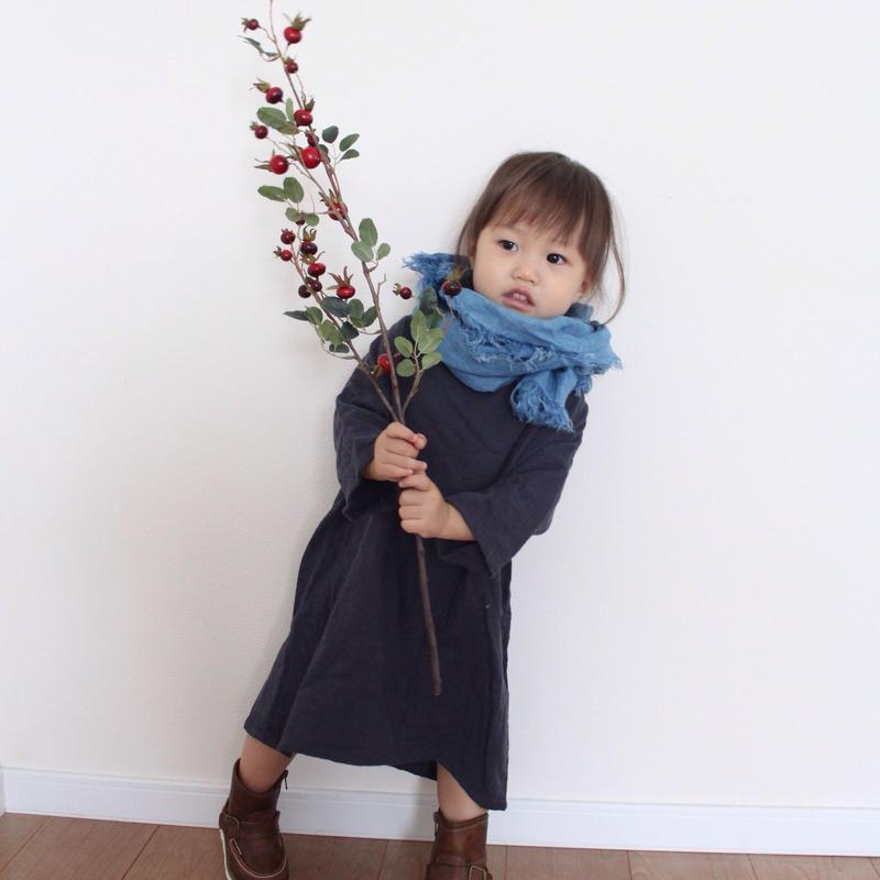 【あおもり藍コラボ】育てるリネンストール キッズ 空色