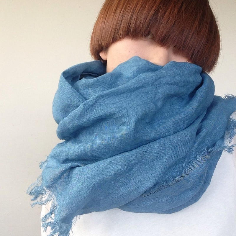 【あおもり藍 コラボ】育てるリネンストール 空色