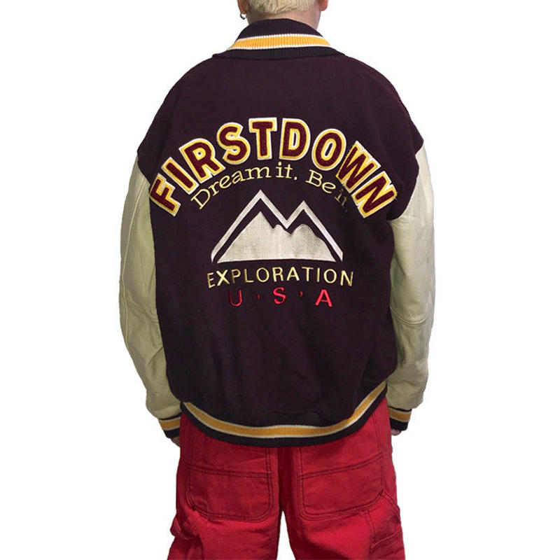 【USED】90'S  FIRST DOWN VARSITY JACKET