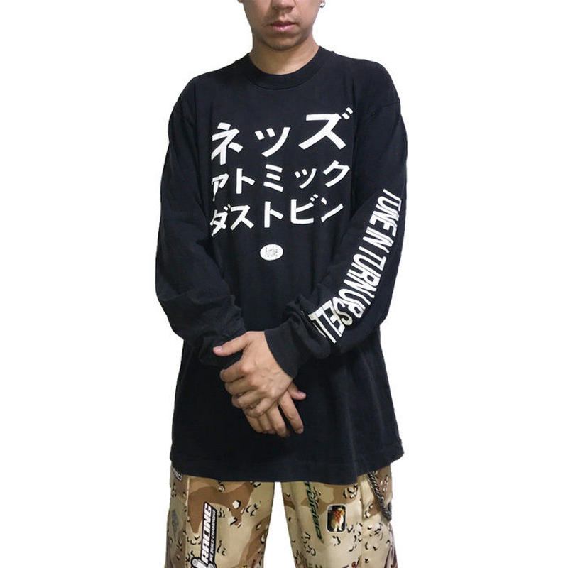 【USED】90'S NED'S ATOMIC DUSTBIN KATAKANA L/S T-SHIRT