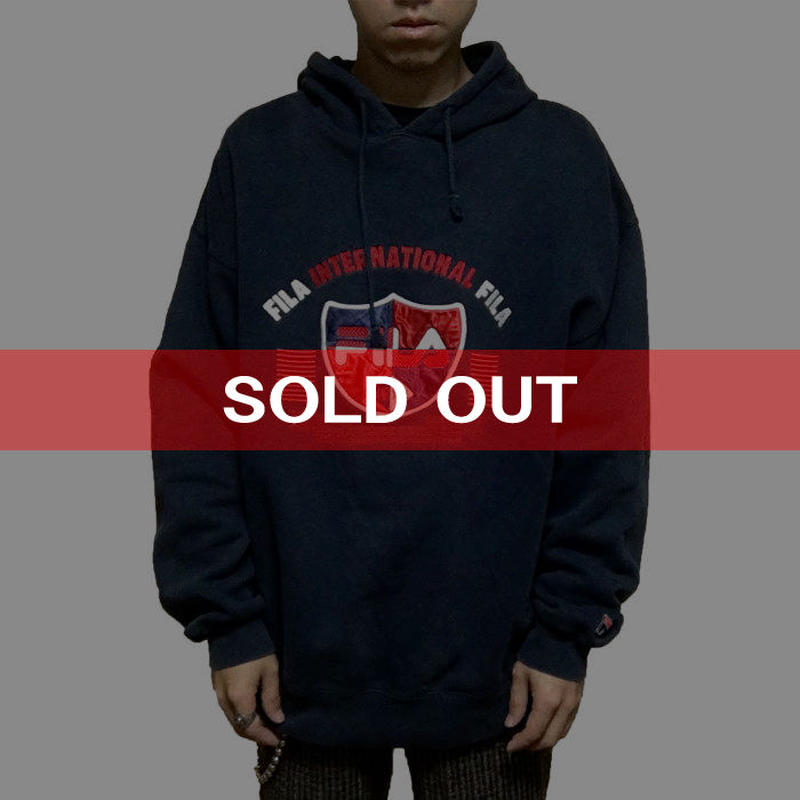 【USED】90'S FILA EMBROIDERY HOODIE NAVY