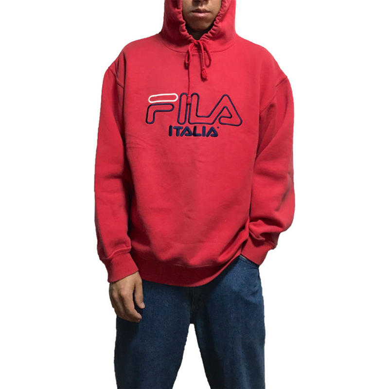 【USED】90'S  FILA HOODIE RED