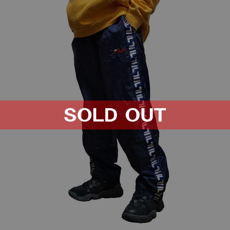 【USED】90'S  FILA SIDE LOGO LINE NYLON PANTS