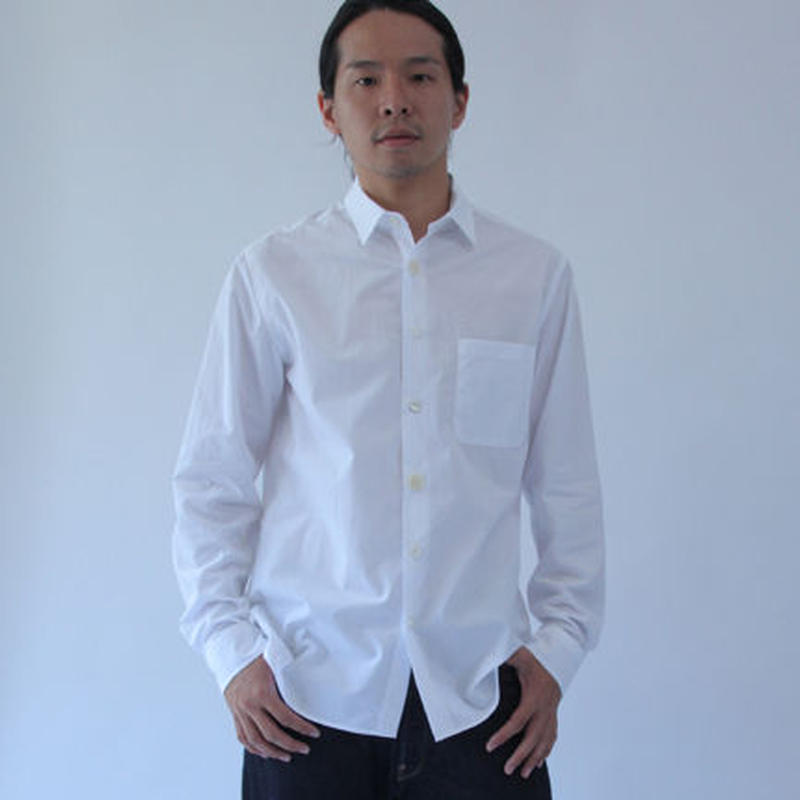 Different Button and Knit Sleeve White Basic Shirt.(Men's SIZE:4/SIZE:5)