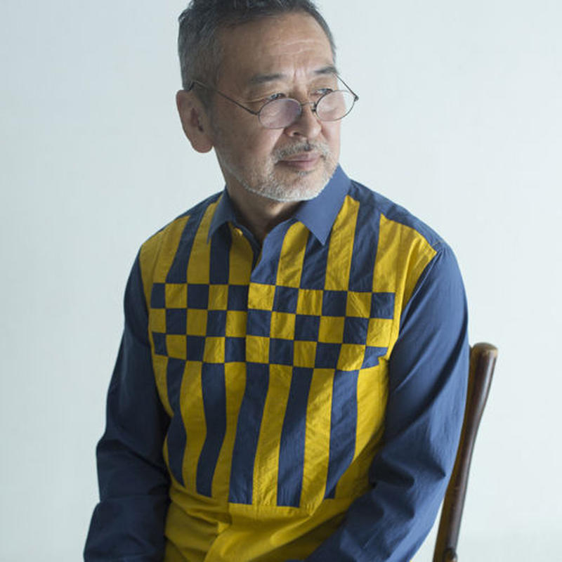 Yellow and Blue Composition Patchwork Shirt.(Men's SIZE:4)