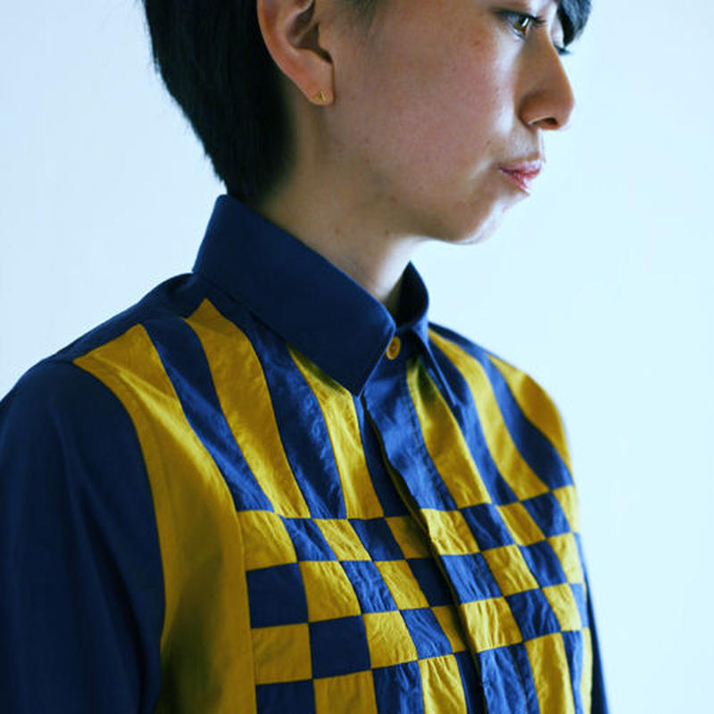 Yellow and Blue Composition Patchwork Shirt.(Ladies' SIZE:1)
