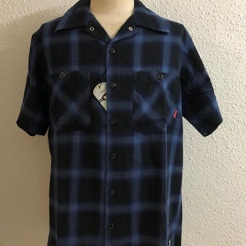 BLUCO WORK SHIRS S/S OMBRE CHECK BLUE