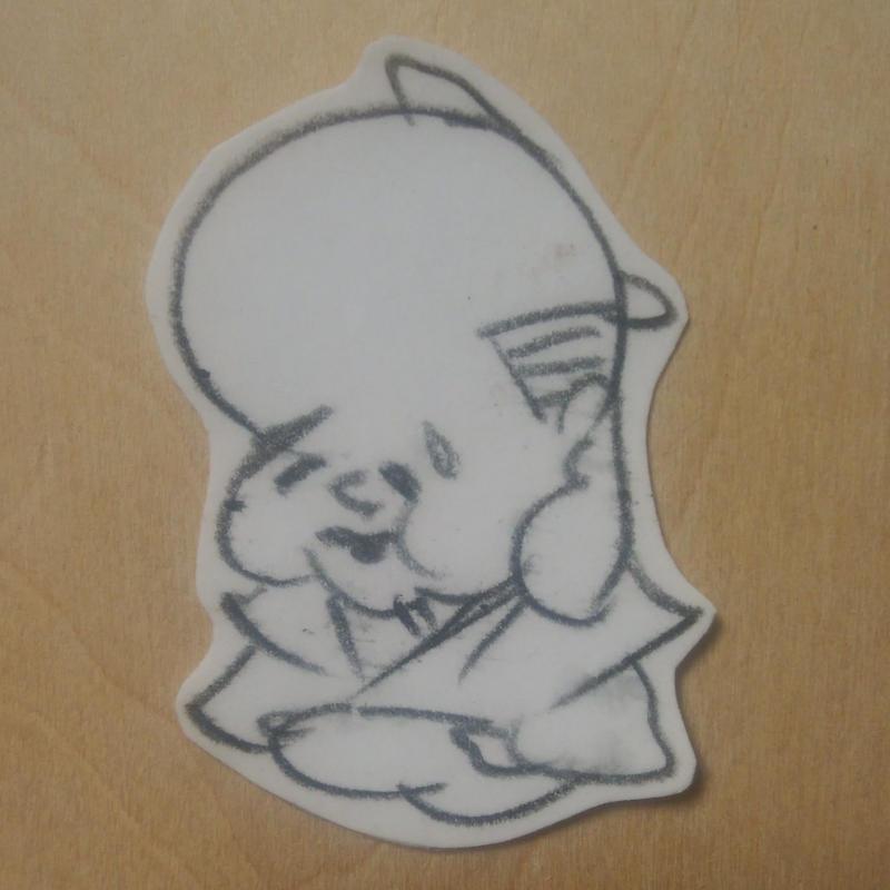 福助ステッカー(鉛筆手描き)