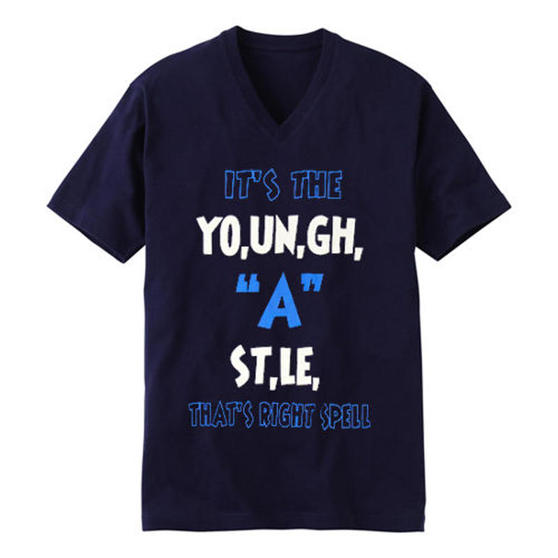 "YOUNG HASTLE ""SPELL MY NAME RIGHT"" V-NECK TEE NAVY/WHITE/L.BLUE"