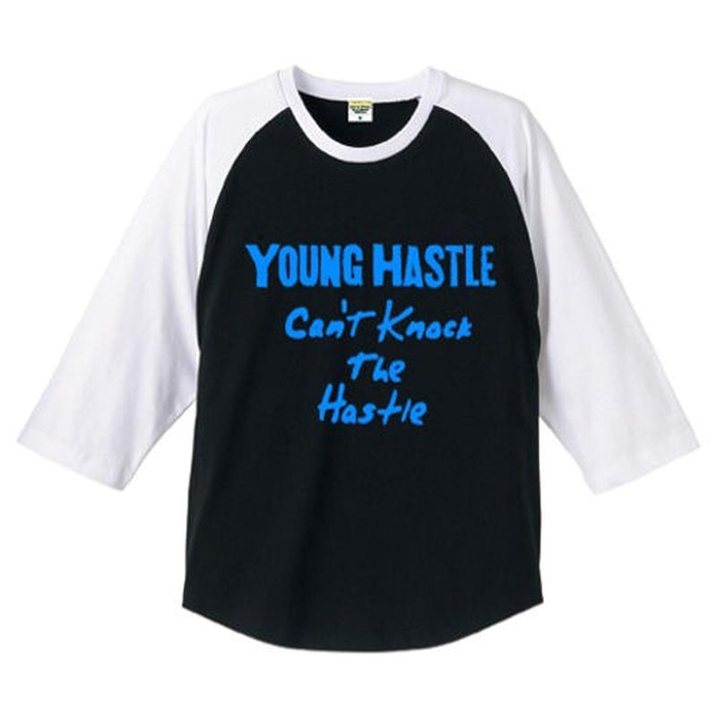 "YOUNG HASTLE ""CAN'T KNOCK THE HASTLE"" 3/4 SLEEVE RAGLAN BLACK/L.BLUE"