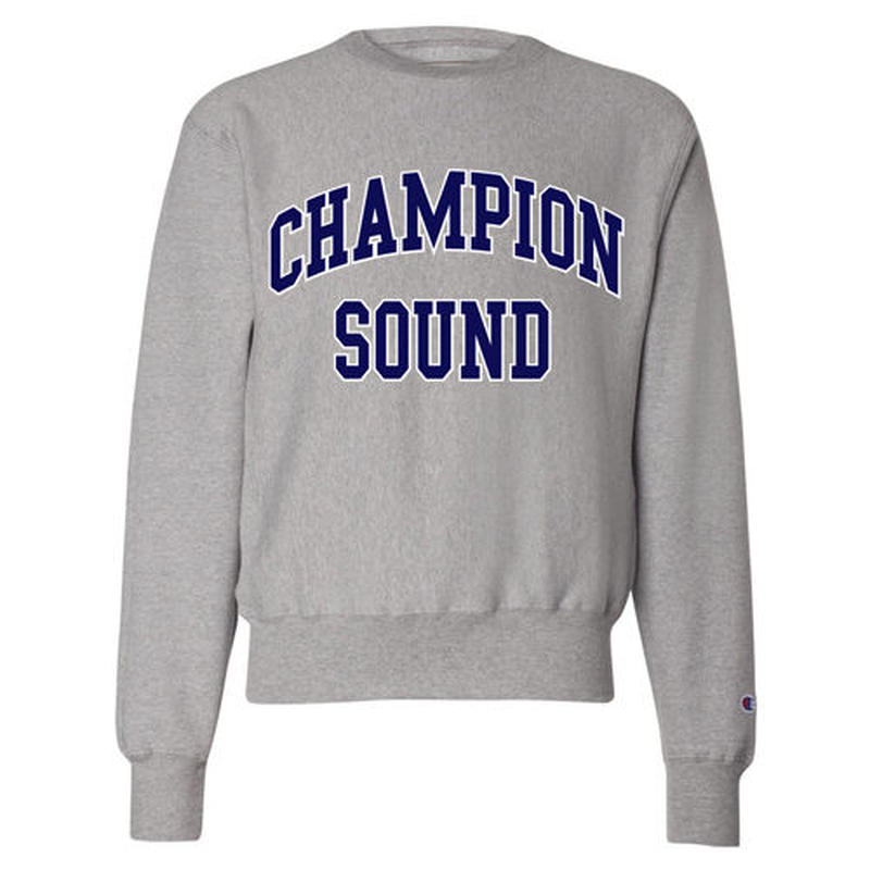 """CHAMPION SOUND"" REVERSE WEAVE CREWNECK SWEATSHIRT GREY"