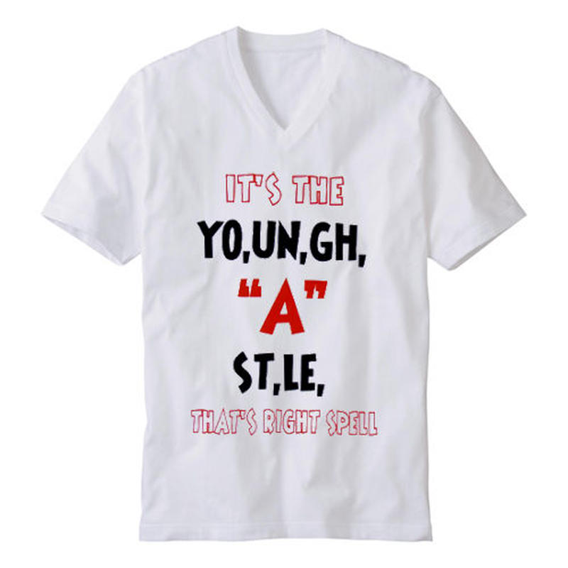 "YOUNG HASTLE ""SPELL MY NAME RIGHT"" V-NECK TEE WHITE/BLACK/RED"