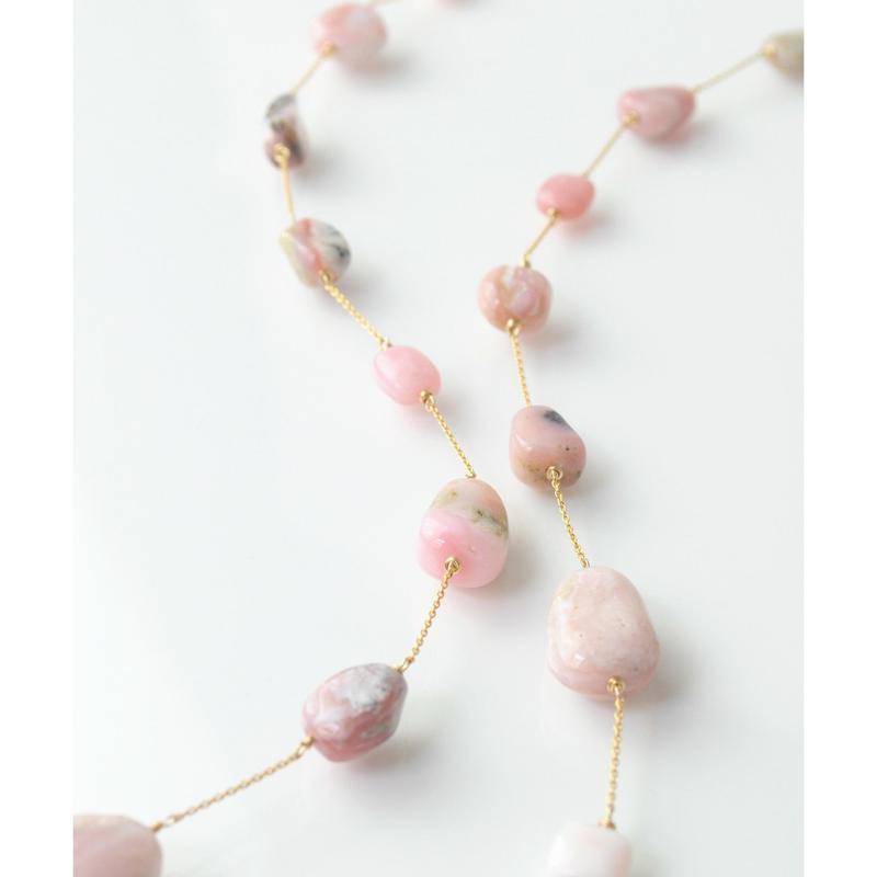 【anq.】K14GF   ピンクオパール ネックレス